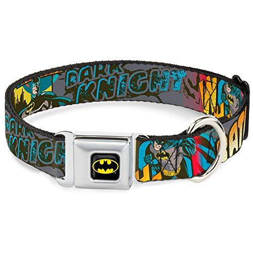 Dog Collar Seatbelt Buckle Batman Dark Knight 15 to 26 Inches 1.0 Inch Wide
