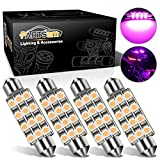 Partsam 4pcs Pink Purple 41mm 42mm Festoon 12SMD LED Light Interior Dome Map Trunk Cargo Footwell Replacement Bulb Lamp 12V 561 562 578 211-2