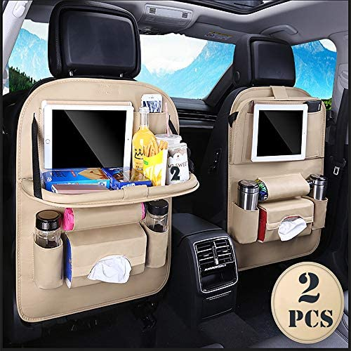Car Back seat Organizer with Foldable Table Tray PU Leather Car Back seat Organizer for Babies product image