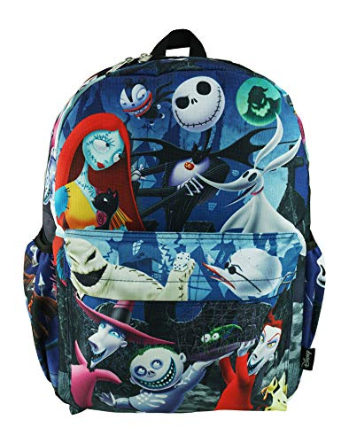 """Nightmare Before Christmas Deluxe Oversize Print Large 16"""" Backpack with Laptop Compartment - A19607"""