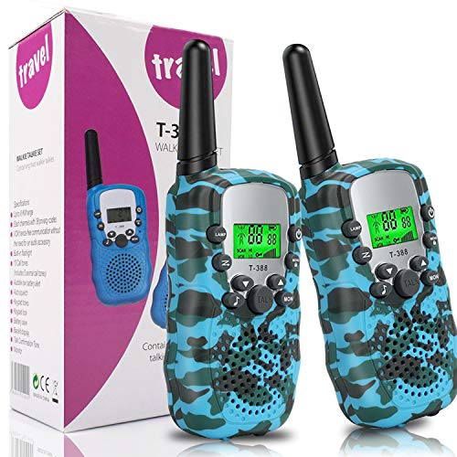 Toys for 3-12 Year Old Boys,Walkie Talkies for Kids,T-388 Long Distance 22 Channels 2 Way Toy with Flashlight 3 Miles Range for Outdoor,Teens Camping Activities, Hiking -1 Pair (Blue Camouflage)