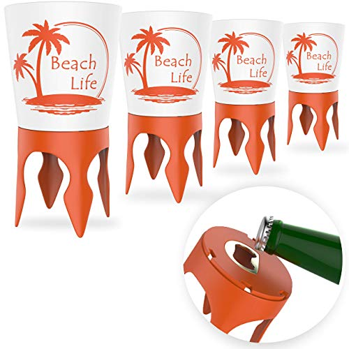 Beach Vacation Accessories, 4 Beach Cup Holders Sand w/Bottle Opener & Spikes, Beach Drink Holder Coaster Spike Cups for Women Men Adults, Sand Cup Holders Beach Lover Gifts, Beach Cup Holder Items
