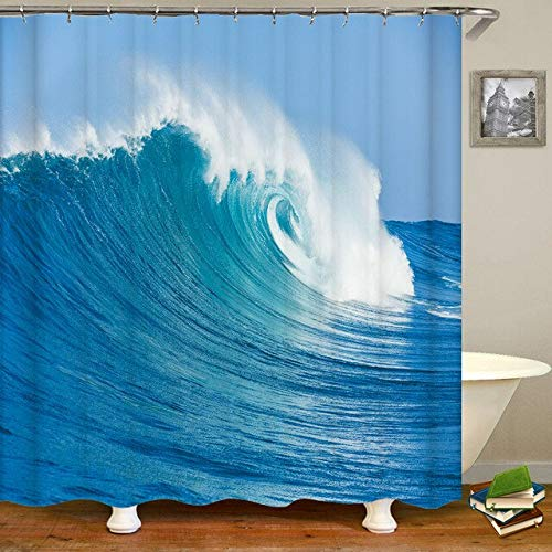 YCDtop Sea Spray Waves Beach Shower Curtains Waterproof Bathroom Bath Curtains Decoration 3D Printing With Hooks Washable Cloth 180x180cm(71x71in)