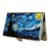 螺鈿細工 ゴッホの「星月夜-糸杉と村」 ステンレス製 スリム 名刺入れ/カードケース/IDケース