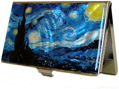 Mother of Pearl Starry Night by Van Gogh Art Painting Design Business Credit Name Card Holder Case Metal Stainless Steel Engr