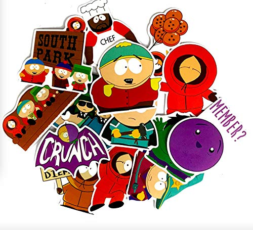 YCYY 15 South Park Pegatina de Dibujos Animados portátil Nevera Palanca Caja monopatín Impermeable Anime Pegatina