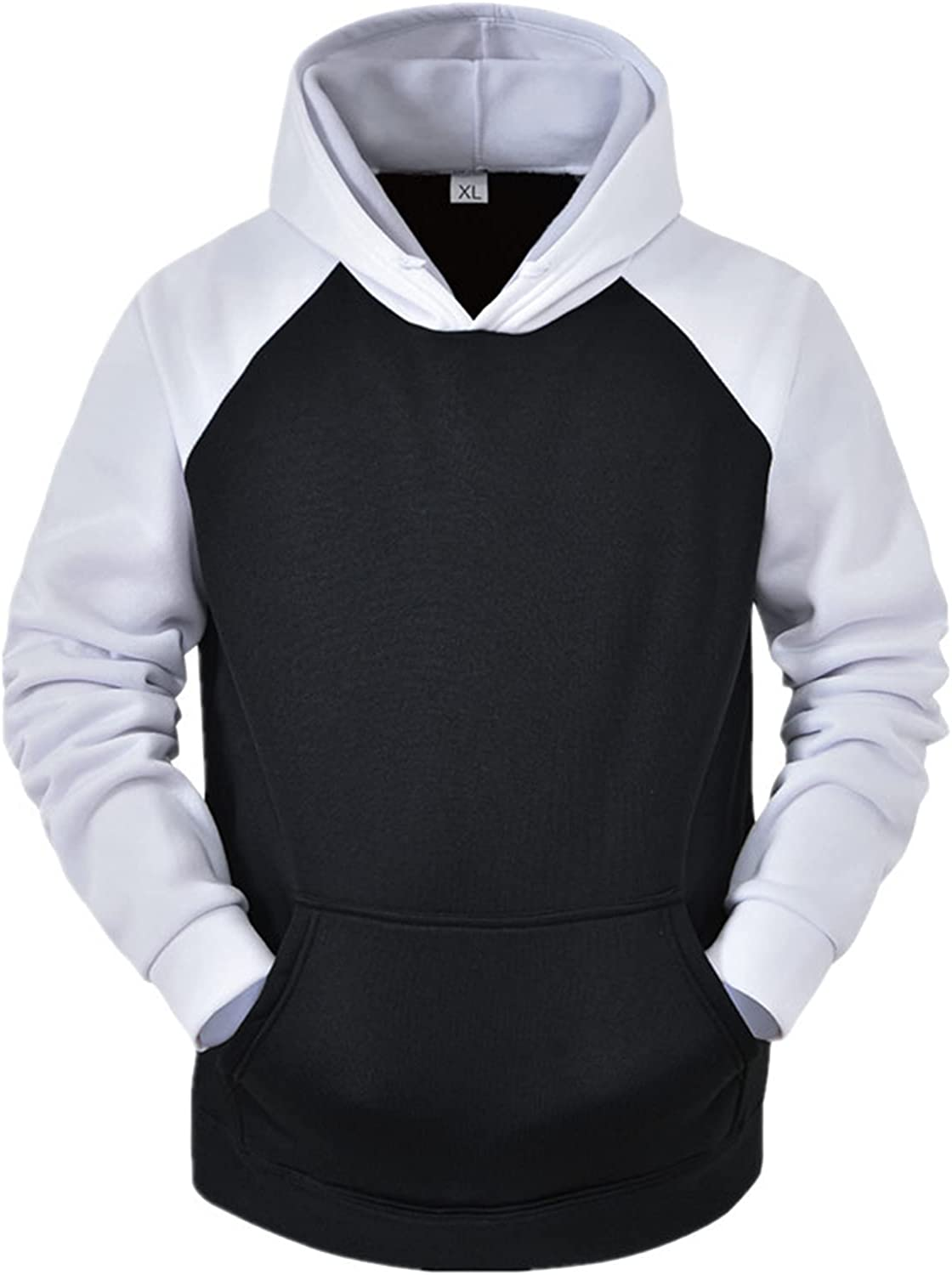 XXBR Fall Hoodies for Mens, Winter Solid Color Drawstring Hooded Sweatshirts Sports Workout Casual Pullover with Pockets