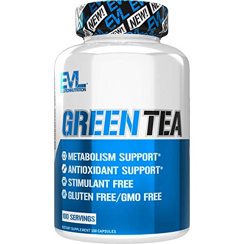 Evlution Nutrition Green Tea Leaf Extract Supplement with EGCG for Metabolism and Antioxidant Support* Stimulant Free, Gluten Free (100 Servings)