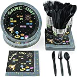 Video Game Party Bundle, Includes Plates, Napkins, Cups, and Cutlery (24 Guests,144 Pieces)