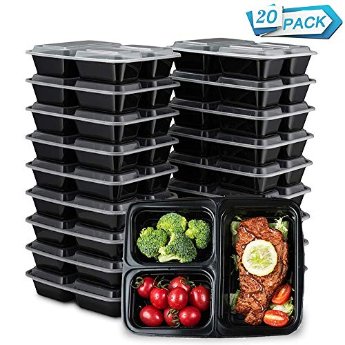 HENSHOW 3 Compartment Meal Prep Container Set of 20Pcs, 1000ML Premium Reuseable BPA Free Food Container Lunches with Lids, Microwave, Freezers and dishwashers Safe