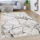 Paco Home Teppich Wohnzimmer Kurzflor Vintage Moderne Abstrakte Marmor Optik Creme Grau, Grösse:80x300 cm