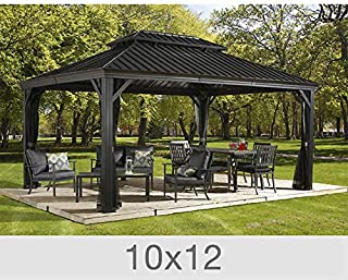 Sojag Messina Galvanized-Steel-Roof Sun Shelter-Grey (12' by 20'ft.)
