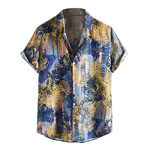 BIBOKAOKE Kurzarmhemden Herren, Funky Hawaiihemd Sommer Revers Druck Henley Shirt Regular Fit Freizeithemden Dünne Casual Herren Hemd Blumenhemd Hemden T-Shirts Kurzarm Bluse Tops