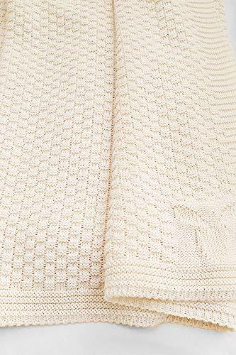 Wallaboo Coperta ultra morbida per bambini Eden, puro 100% cotone bio, Dimensione 90 x 70 cm, lavorata a maglia, per lettino, Colore: Crema