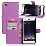 Tasche für OPPO F1 (5 zoll) / OPPO A35 Hülle, Ycloud PU Ledertasche Flip Cover Wallet Hülle Handyhülle mit Stand Function Credit Card Slots Bookstyle Purse Design lila