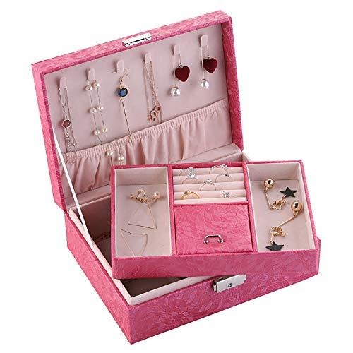 Sebasti Joyero de piel sintética con 2 capas (cantidad: 1 almacenamiento de joyas), 23 x 17 x 8,5 cm, color rosa