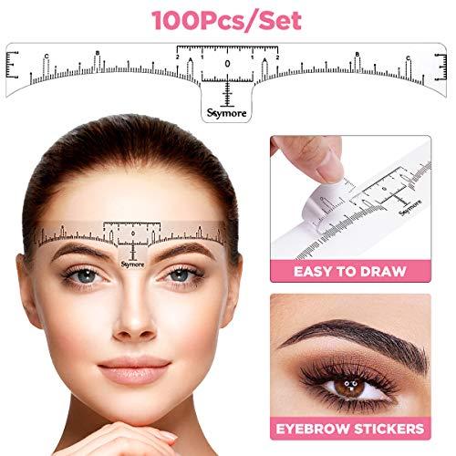Augenbraue Lineal, Skymore 100 pcs Einweg Augenbraue-Lineal Blätter Sticker für Permanent Make-up, Augenbrauen Microblading Schablone Tattoo Aufkleber Positioniert Augenbraue Sticker Werkzeug