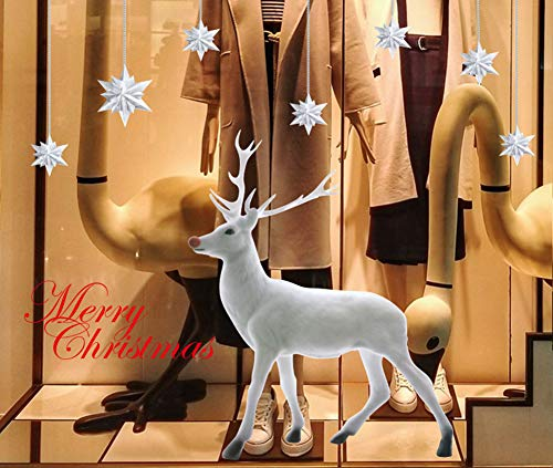 YULOONG Christmas Windows Static Stickers Colorful Clings Removable Vinyl Santa Claus Christmas Tree Snowman Snowflake Deer DIY Wall Window Door Mural Showcase Large Decal Sticker
