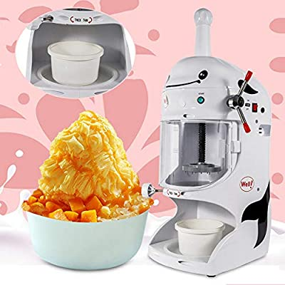 350W Commercial Electric Ice Shaver Snow Cone Maker Machine Premium Shaved Ice Machine Large Capacity Is Suitable Automatic Crusher For Milk Tea Shop, Coffee Shop, Home,Dessert 110V 18Kg