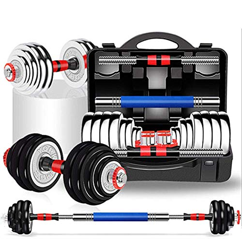 YLJYJ Fitness Dumbbells Barbell Cast Iron 2 in 1 Sets Home Gym with Connector Adjustable Non-Slip Free Weights Plate Body Workout Men Women Strength Training Sets,Black,30KG