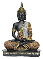 Material:Polyresin Size (L x W x H): 8 cm x 18.5 cm x 24 cm: Weight : 350 gm Package Contents: 1 Sitting Buddha Figurine Colour: Orange and Black Care Instructions: Wipe with soft clean cloth