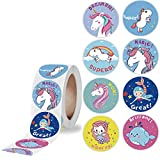Removable Unicorn Mermaid Princess Stickers Roll 500Pcs 2.5CM/1IN Reward Stickers for Classroom Birthday Party Favor (Unicorn Type A)