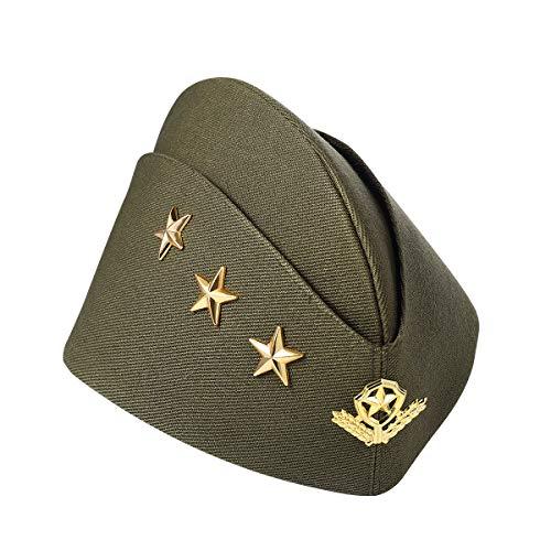 BESTOYARD Nautical Sailor Hat Three Stars Wheat Stewardess Hat Airline Beret Adult Costume Accessory Halloween Cosplay Costume (Army Green)