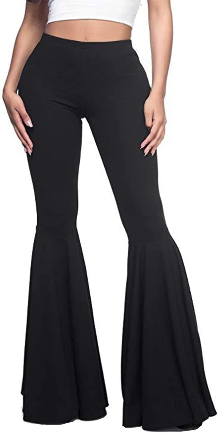Women's Casual Pleated Flared Pants Ruffle Flare Bottom Mermaid Wide Leg Trousers High Waist Lace Bottoms Casual Pants (3X-Large,Black)