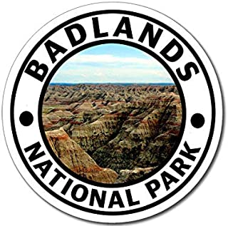MAGNET 4x4 inch Round BADLANDS National Park Sticker -sd hike south dakota rv travel np Magnetic vinyl bumper sticker sticks to any metal fridge, car, signs