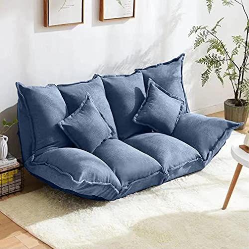 Lazy Folding Floor Sofa Bed,Modern Style Adjustable Leisure Soft Comfortable Sleeper Couch with Foldable Armrests and Pillows (Blue)