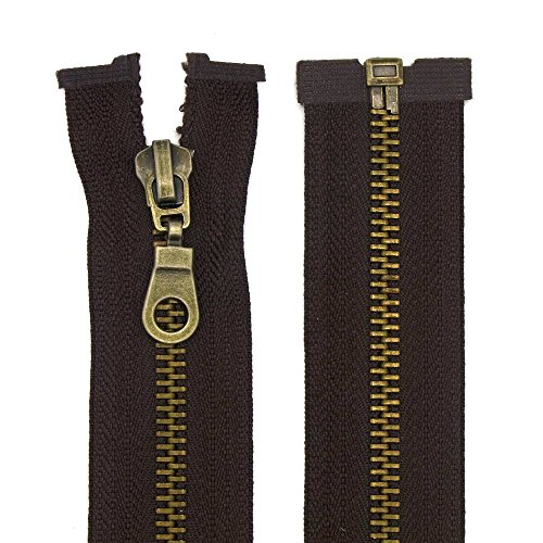 Starlet24 Reißverschluss Metall 5mm teilbar Braun 75 cm