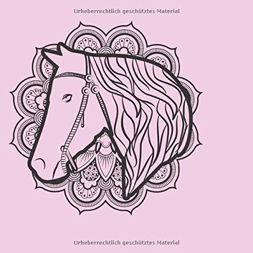 Skizzenbuch quadratisch: Blanko Zeichenbuch   Skizzenbuch  120 Seiten   Pferde Motiv   Softcover   quadratisch 21,59cm x 21,59 cm   Seiten mit Rahmen   weißes Papier