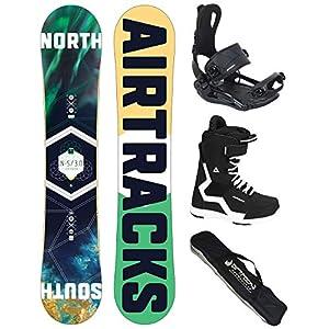 AIRTRACKS Snowboard Set (Paquete Completo) Tabla North South Wide (Hombre)+Fijaciones Master+Botas+SB Bolsa/Nuevo 4