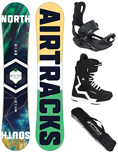 Airtracks Snowboard Set - Board North South 163 - Softbindung Master - Softboots Savage Black 44 - SB Bag