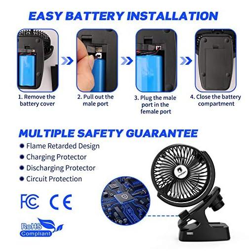 Ventilador USB - Mini Ventilador Portatil Recargable Ventilador Clip Ventilación Natural de Refrigeración, 5200 mAh… 5
