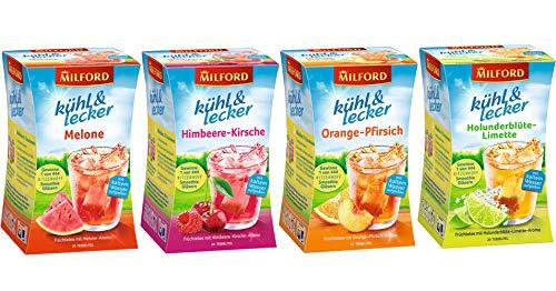 Milford Sommertee   kühl & lecker   4 verschiedene Sorten   Melone   Holunderblüte-Limette   Orange-Pfirsich   Himbeere-Kirsche   kalter Tee