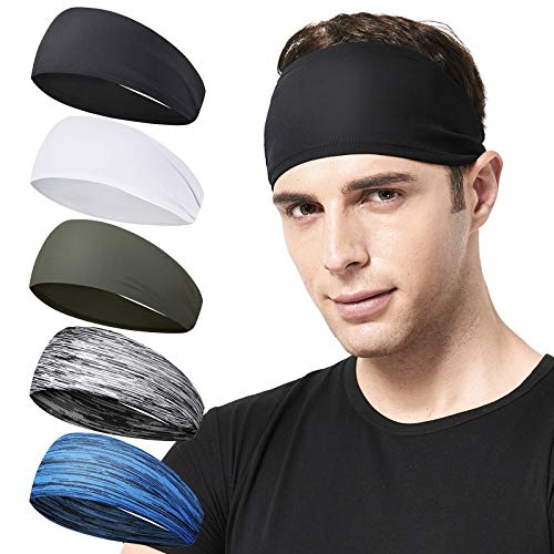 Acozycoo Mens Running Headband,5Pack,Mens Sweatband Sports Headband for Running, Cycling, Basketball,Yoga,Fitness Workout Stretchy Unisex Hairband (Black, White, Gray, Blue, Green)