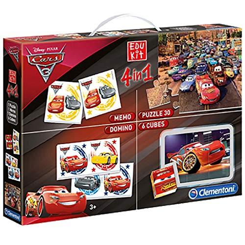 Clementoni - 13710 - Edukit 4 in 1 - Disney Pixar Cars 3 - set di giochi (memo, domino, cubi, puzzle 30 pezzi) - gioco educativo 3 anni, gioco memory, puzzle bambini - Made in Italy