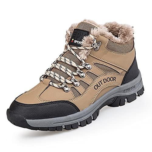 Hombre Botas Invierno Botines Zapatos Botas De Nieve Cálido Fur Forro Aire Libre Boots,Marrón,44 EU