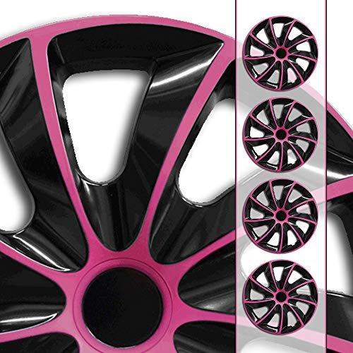 Eight Tec Handelsagentur (Farbe & Größe wählbar) 14 Zoll Radkappen, Radzierblenden Bicolore (Schwarz/Pink) passend für Fast alle Fahrzeugtypen (universal)