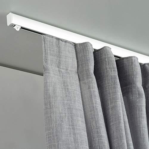 X-PROFILES Binario per Tende Arricciate - Installazione a Soffitto e Parete - in Alluminio Dim. 17x26 mm. - Completo per l'Installazione (260 CM)