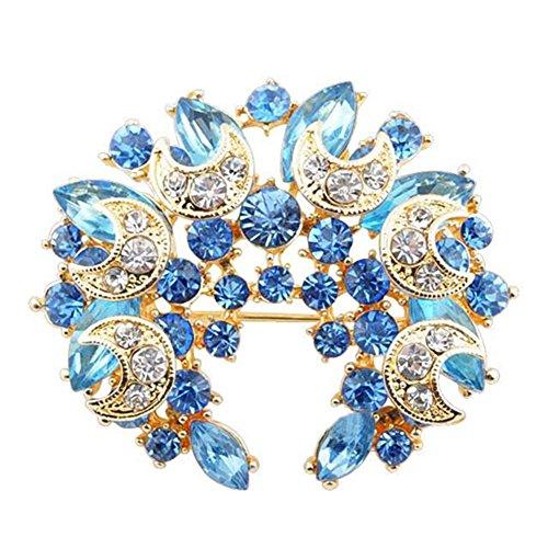 Sanwood Broche pour femme en forme de fleur avec strass (bleu ciel)