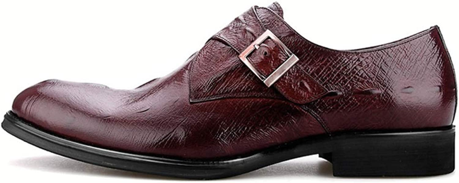SHANGWU Men's Formal Business shoes Men's Crocodile Pattern Pointed Head Feet British Trend Buckle Leather Men's Leather shoes