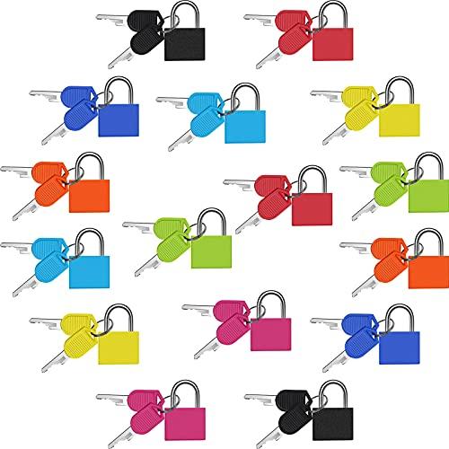 16 Stücke Koffer Schlösser mit Schlüsseln Metall Gepäck Vorhängeschlösser Mehrfarbiges Kleines Mini Vorhängeschloss Schlüssel Schloss für Schule Gymnastik, 8 Farben