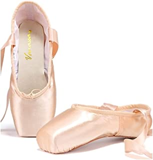 Professional Vanassa Ballet Pointe Shoes Satin Dance Slipper Flats with Toe Pad & Ribbon,Leather Sole,Resilient Shank Able to Reach Full Pointe for Girl Women