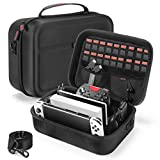 Bestico Funda para Nintendo Switch y Switch OLED, Estuche Rígido de Transporte de Viaje para Consola Switch, La Base de la Switch, Adaptador AC, Joy con Grip, Pro Controller y 18 Cartuchos de Juegos