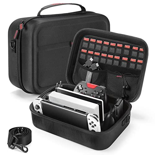 Bestico Tasche für Nintendo Switch/Switch OLED, Deluxe Harte Tragetasche Hülle Schutz Case mit Größerem Speicherplatz für die Switch Konsolle, Pro Kontrolleur und Andere Zubehör mit 18 Spielpatronen