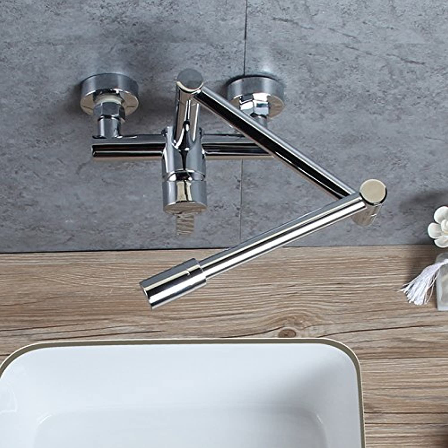 SUhang Kitchen Sink Taps The Copper Into The Wall Hot And Cold Kitchen Faucet Fold-Stretch To redate The Tank Washing Dishes Pool Dish Tub Faucet