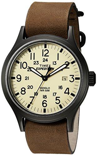 Timex Men's TWC007000 Expedition Scout Tan/Brown Leather Slip-Thru Strap Watch