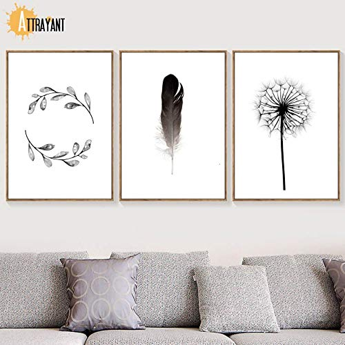 Dandelion feather leaf Scandinavian poster wall art canvas painting Nordic poster and print living room mural